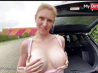 MyDirtyHobby - Busty babe has sex in the back of her car