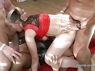 2 Three Hole sluts get fucked in a Bareback Gangbang! Part 2