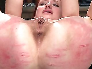 Redhead Gets Butt Red From Whipping
