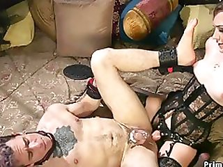 Arousing Blond Hair Lady Domme Riding Her Slaves Penis
