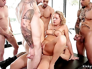 Blond double penetration got laid in group sex bondage