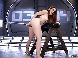 Leaned forward redhead fornicateed machine