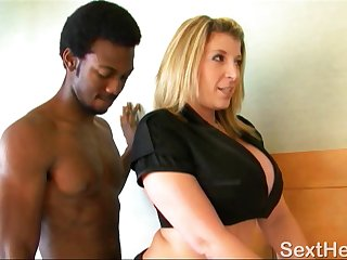 Sara Jay Giving Head to Two Large Black Dicks