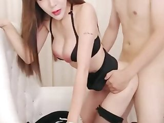 Chinese Cam Girl UT Aicee Live Fuck in Flight Attendant Uniform
