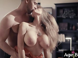 Horny boss fucks gorgeous GILF assistant