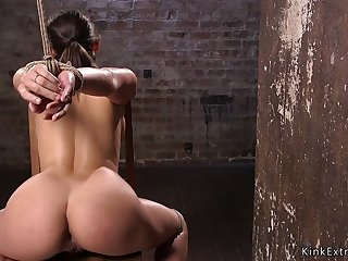 Masochist pain slut in hogtie