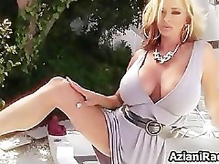 Sexy blonde milf goes crazy dildo part1