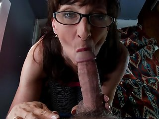 Sexy Milf Wearing Glasses Sucks and Drains A Fat Cock
