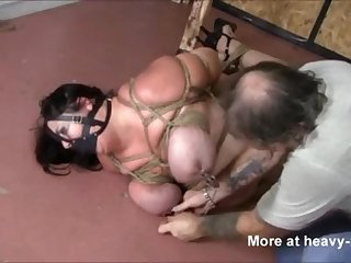 BBW in tight rope bondage
