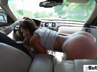 In car action with amazing ass woman
