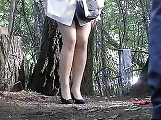 Girl Pees In The Bushes Of A Park With Her Boyfriend