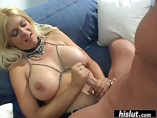 MILF and her man have fun with a strap-on