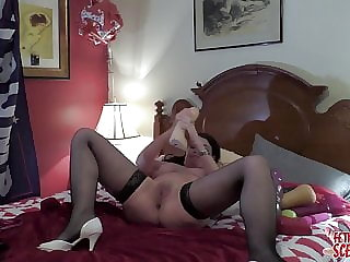MY WIFE loves inserting the BIGEST dildo in her gapping puss