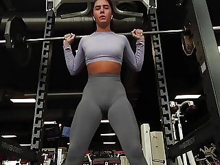 No pantie No bra at the Gym (camel toe cameltoe) pussy shape