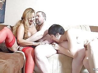 Fat Guy at First FFM Threesome with Wife and Big Tits Mature