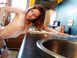 Teengirl fucked in kitchen leaves huge mess