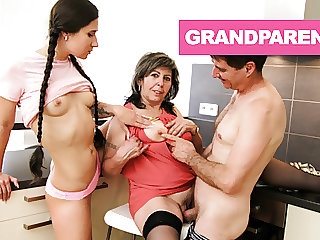 Pigtail Teen Taking Money from Old Couple