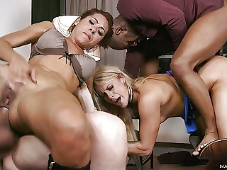 Rose Valerie & Brittany Get roughly DPed by 3 hung men