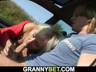70 years old blonde granny picked up and fucked roadside