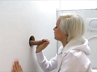 Fuck Stranger Dick at Glory Hole - German Teen at Toilet