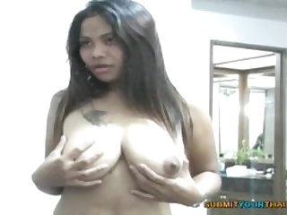 Asian farm girl with Big Busty naturals sucks a huge cock