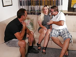 Fake tits German slut fucked by two horny men