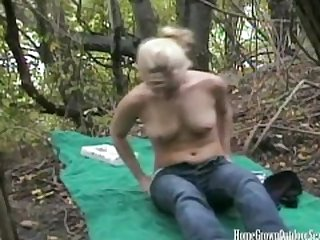 Blonde amateur masturbates then fucked outdoors