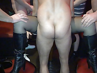 Naughty slutwife gangbanged by 20+ guys frequently