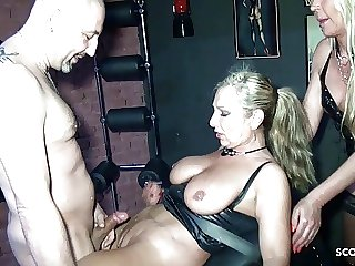 Two German Femdom MILFs Fuck Slave in Latex Threesome