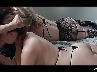 Hot amateur housewives sucking and fucking in foursome