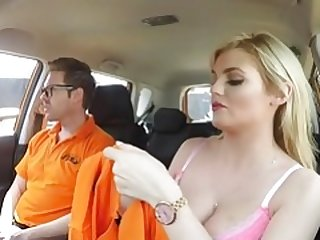 Fake Driving School Posh excited busty examiner swallows