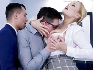 Hot computer technician gets seduced by Angel Wicky and additionally her coworker