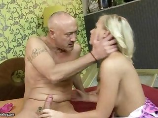 Hot 18-19 year old blonde fucking with old man