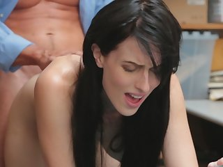 Lovely brunette Alex Harper bends over and gets pussy penetrated